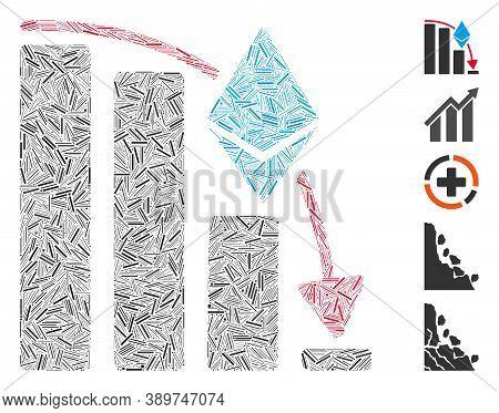 Line Mosaic Based On Ethereum Falling Acceleration Chart Icon. Mosaic Vector Ethereum Falling Accele