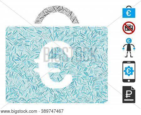Line Mosaic Based On Euro Bookkeeping Case Icon. Mosaic Vector Euro Bookkeeping Case Is Formed With
