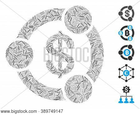 Line Mosaic Based On Financial Collaboration Icon. Mosaic Vector Financial Collaboration Is Composed