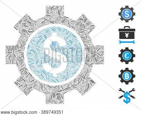 Line Mosaic Based On Financial Options Icon. Mosaic Vector Financial Options Is Created With Random