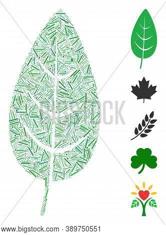Dash Mosaic Based On Flora Leaf Icon. Mosaic Vector Flora Leaf Is Formed With Random Dash Dots. Bonu