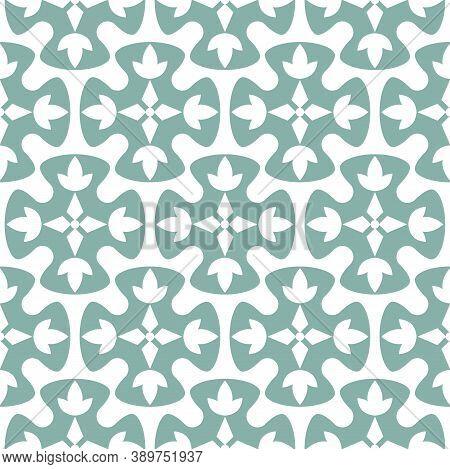 Blue Seamless Vector Geometric Oriental Style Pattern Background. Floral Quatrefoil Geometric Shapes