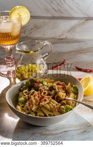 Sausage And Chopped Broccoli Penne Ragu Alla Bolognese With Lemonade