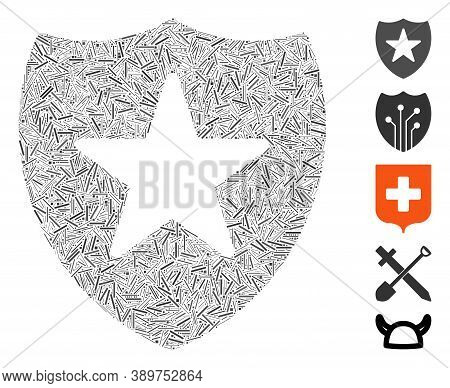 Line Mosaic Based On Guard Shield Icon. Mosaic Vector Guard Shield Is Formed With Random Line Dots.