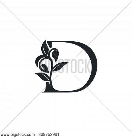 Monogram Nature Floral D Luxury Letter Logo Concept. Elegance Black And White Florist Alphabet Font