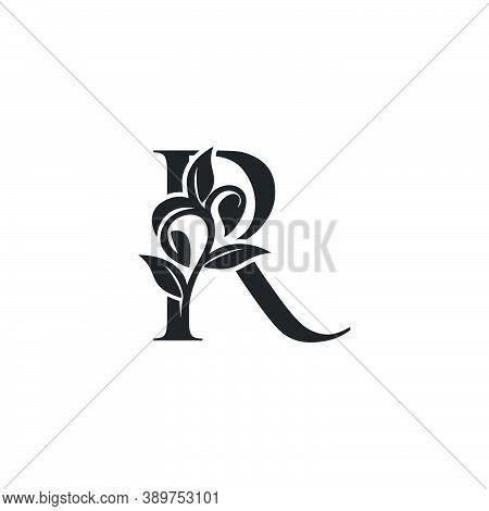 Monogram Nature Floral R Luxury Letter Logo Concept. Elegance Black And White Florist Alphabet Font