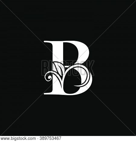 Luxury Letter B Floral Leaf Logo Icon, Simple Classy Monogram Vector Design Concept For Brand Identi