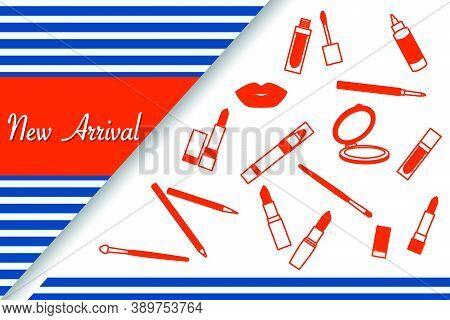 Vector Illustration New Arrival Sale Decorative Cosmetics Makeup Lipstick Lip Pencil  Promotional Ba