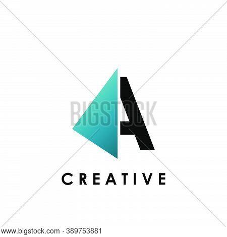 Techno Split Half Letter A Logo Vector Design With Geometrical Triangle Shape.