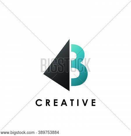 Techno Split Half Letter B Logo Vector Design With Geometrical Triangle Shape.