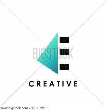 Techno Split Half Letter E Logo Vector Design With Geometrical Triangle Shape.