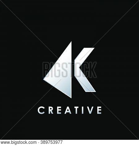 Techno Split Half Letter K Logo Vector Design With Geometrical Triangle Shape.