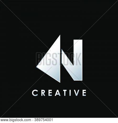 Techno Split Half Letter N Logo Vector Design With Geometrical Triangle Shape.