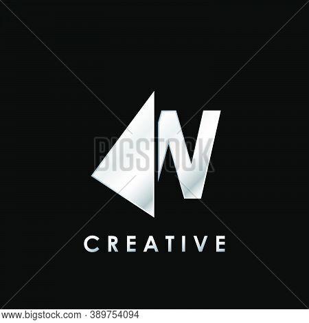 Techno Split Half Letter W Logo Vector Design With Geometrical Triangle Shape.
