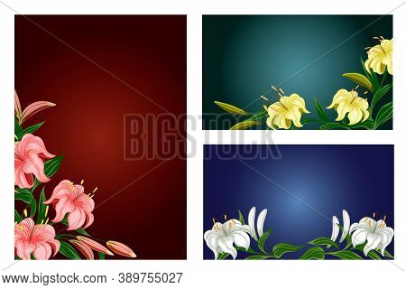 Set Of Illustrations With Lilies.bright Bouquets Of Lilies In A Color Set Of Postcards.