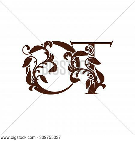Initial Letter O And T, Ot Luxury Logo Icon, Monogram Vintage Design  With Tropical Nature Leaves El