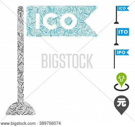 Hatch Mosaic Based On Ico Flag Marker Icon. Mosaic Vector Ico Flag Marker Is Formed With Randomized