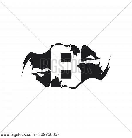 Black Splash B Letter Logo Icon. Abstract Design Concept Mountain Splash With Hidden Letter Vector D