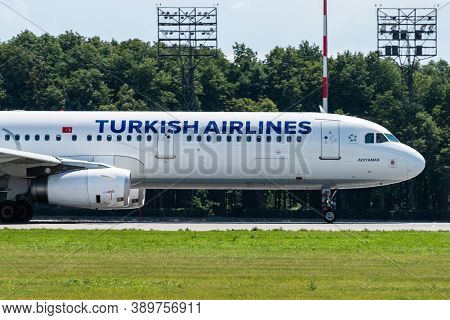 July 2, 2019, Moscow, Russia. Airplane Airbus A321-200 Turkish Airlines At Vnukovo Airport In Moscow