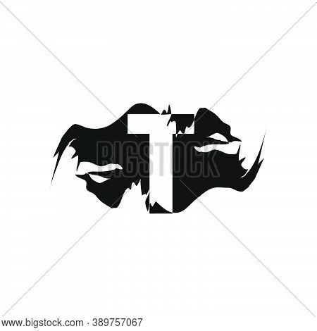 Black Splash T Letter Logo Icon. Abstract Design Concept Mountain Splash With Hidden Letter Vector D
