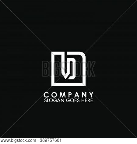 Monogram Logo V And D, Vd Initial Letter Looping Linked Square Rounded Shape Design For Business Sty