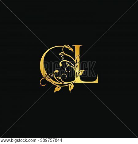 Golden Floral Letter C And L, Cl Logo Icon, Luxury Alphabet Font Initial Vector Design Isolated On B