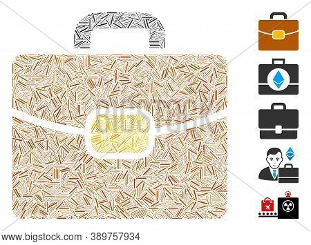 Hatch Mosaic Based On Leather Case Icon. Mosaic Vector Leather Case Is Composed With Scattered Hatch