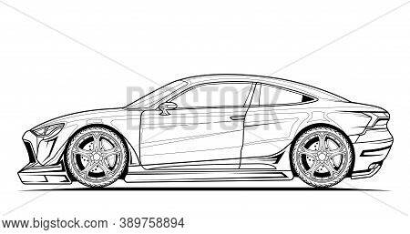 Sport Car Vector Line Illustration. Black Contour Sketch Illustrate Adult Coloring Page For Book And