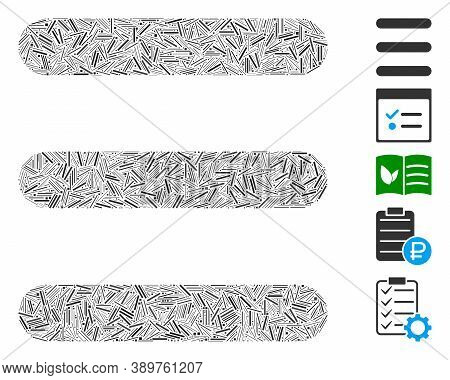 Line Mosaic Based On Menu Items Icon. Mosaic Vector Menu Items Is Designed With Scattered Line Items