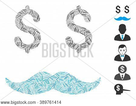 Line Mosaic Based On Millionaire Mustache Icon. Mosaic Vector Millionaire Mustache Is Composed With