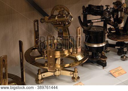Belgorod Region, Russia - November 14, 2019: Vintage Geodetic Instruments Used In The World Over 100
