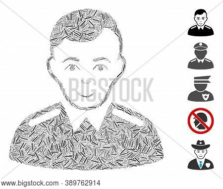 Line Mosaic Based On Officer Icon. Mosaic Vector Officer Is Composed With Random Line Items. Bonus I