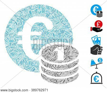Hatch Mosaic Based On One Euro Coin Stack Icon. Mosaic Vector One Euro Coin Stack Is Formed With Sca