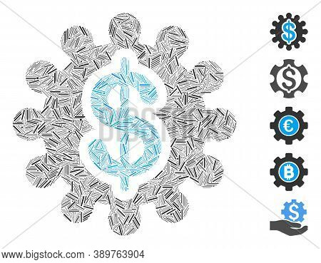 Line Mosaic Based On Payment Options Icon. Mosaic Vector Payment Options Is Designed With Randomized