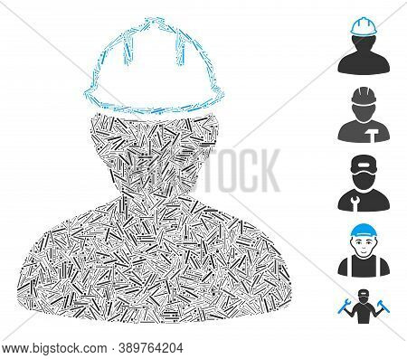 Line Mosaic Based On Person In Hardhat Icon. Mosaic Vector Person In Hardhat Is Designed With Scatte