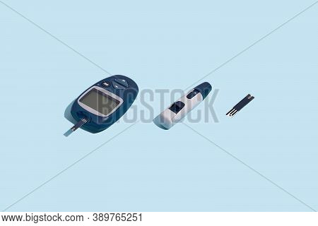 Glucose Meter And Pen On Blue Background With Shadow, Metabolic Syndrome Concept