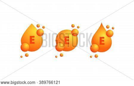 Vitamin E Icon Set. Shining Golden Drop Of Substance. Beauty Treatment Nutrition Skin Care Design. V