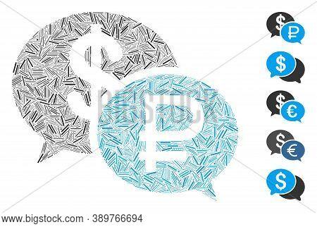 Dash Mosaic Based On Rouble Dollar Transaction Icon. Mosaic Vector Rouble Dollar Transaction Is Comp