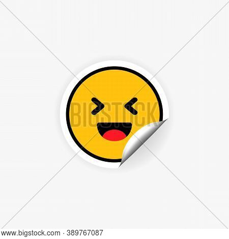 Laughing Emoji Sticker. Laugh. Happiness Emotion. Joke. Vector Eps 10. Isolated On White Background