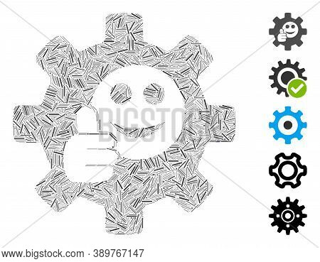 Line Mosaic Based On Service Gear Ok Smile Icon. Mosaic Vector Service Gear Ok Smile Is Composed Wit
