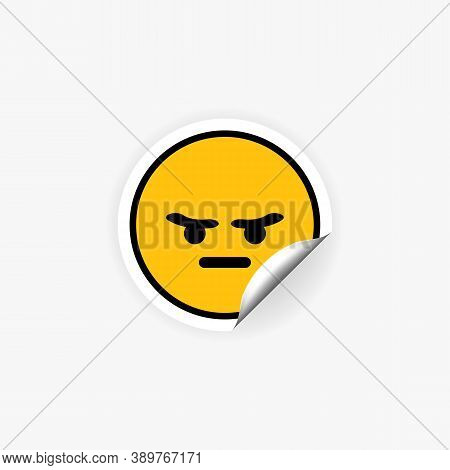 Mad Or Angry Emoji Sticker. Mood. Emotion. Vector Eps 10. Isolated On White Background