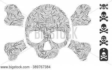 Line Collage Based On Skull Crossbones Icon. Mosaic Vector Skull Crossbones Is Composed With Random