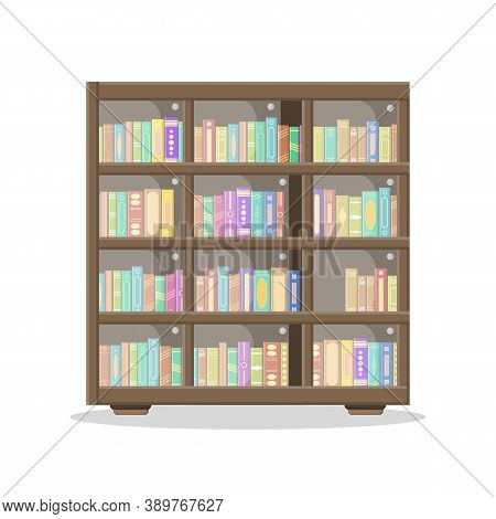 A Large Library Has A Wooden Bookcase Full Of Folded Books Standing On Bookshelves. Wooden Bookshelv