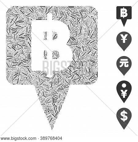 Hatch Mosaic Based On Thai Baht Map Pointer Icon. Mosaic Vector Thai Baht Map Pointer Is Formed With