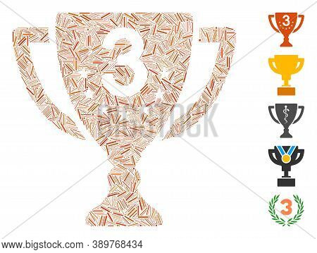 Hatch Mosaic Based On Third Place Cup Icon. Mosaic Vector Third Place Cup Is Composed With Random Ha