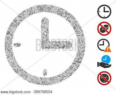 Line Mosaic Based On Time Icon. Mosaic Vector Time Is Created With Random Line Items. Bonus Icons Ar