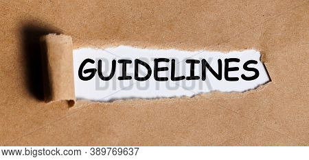 Guidelines, Text On Craft Torn Paper On White Backing