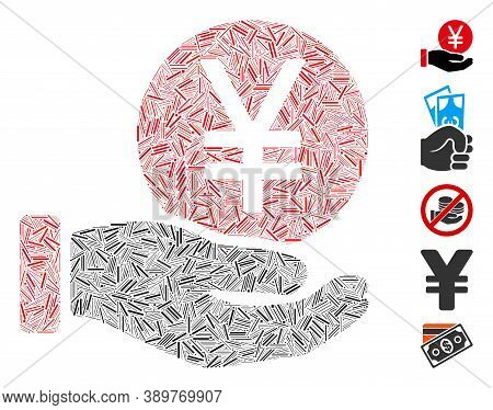 Line Mosaic Based On Yen Coin Payment Hand Icon. Mosaic Vector Yen Coin Payment Hand Is Designed Wit