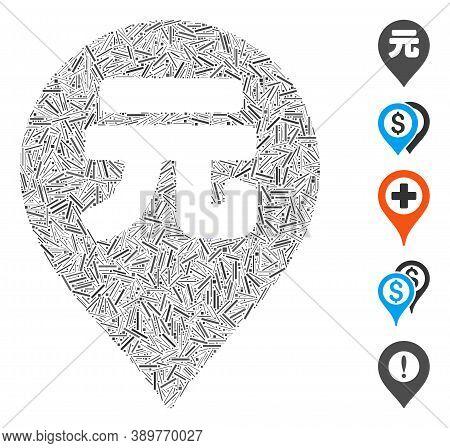 Line Mosaic Based On Yuan Renminbi Marker Icon. Mosaic Vector Yuan Renminbi Marker Is Formed With Ra