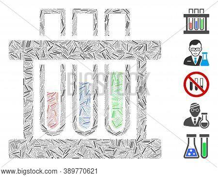 Line Mosaic Based On Analysis Test-tubes Icon. Mosaic Vector Analysis Test-tubes Is Created With Sca